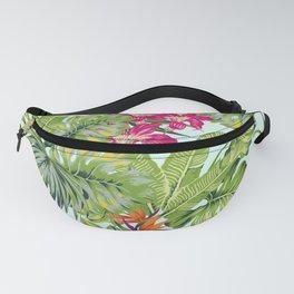 Bird of Paradise Greenery Aloha Hawaiiana Rainforest Tropical Leaves Floral Pattern Fanny Pack