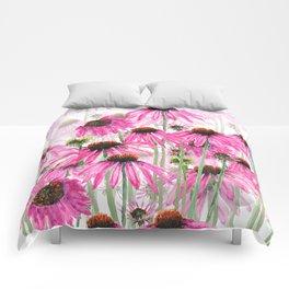pink coneflower field Comforters