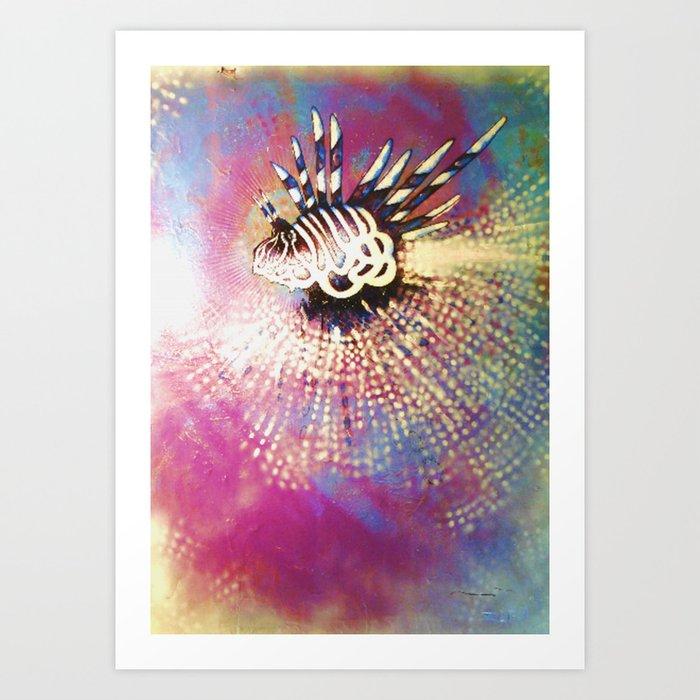 """Night Lion"" Deep Sea Creature Painting , American contemporary wall Art, prints, canvas decor Art Print"