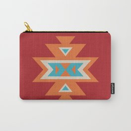 Navajo Aztec Pattern Orange Turquoise on Red Carry-All Pouch