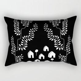 Line Vine Village Line Art Illustration in Black Rectangular Pillow