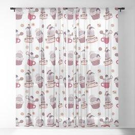 Cookie & cream & penguin Sheer Curtain