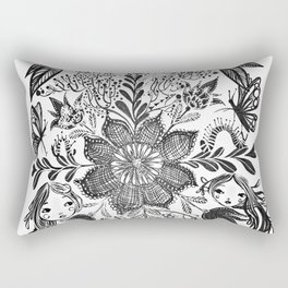 Me and you, day and night in our messy garden Rectangular Pillow
