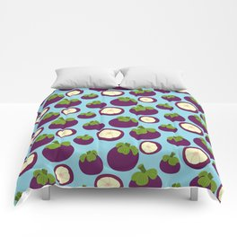 Tropical mangosteen fruit pattern on the blue background Comforters