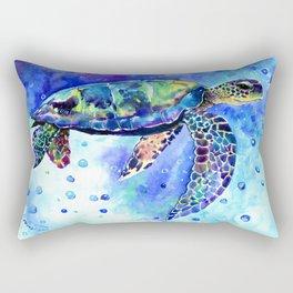 Sea Turtle, Underwater Scene Rectangular Pillow