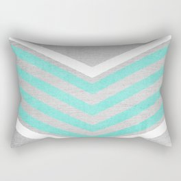 Teal and White Chevron on Silver Grey Wood Rectangular Pillow