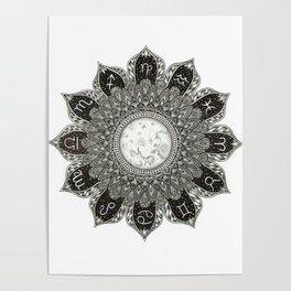 Astrology Signs Mandala Poster