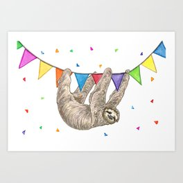 Sloth with Bunting #1 Art Print