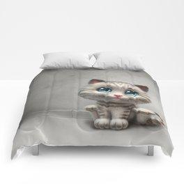 gray kitten Comforters