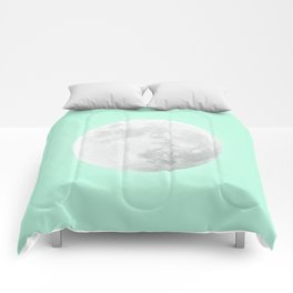 WHITE MOON + TEAL SKY Comforters