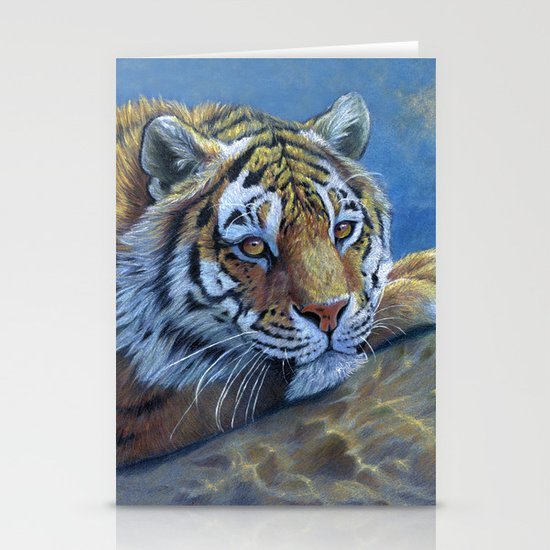 Tiger on the rock CC117 Stationery Cards