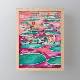 Ginger Cat amongst the Lily Pads on a Pink Lake Framed Mini Art Print