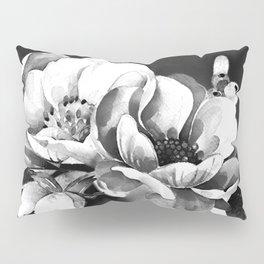 Floral Portrait-black and white Pillow Sham