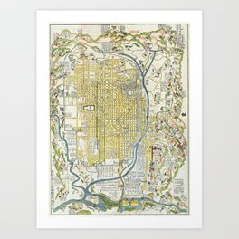 Japanese woodblock map of Kyoto, Japan, 1696 Art Print