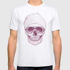 Cool skull LARGE Ash Grey Mens Fitted Tee