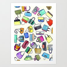 colored bags obsession Art Print