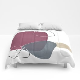 Abstract Glimpses in Mulberry and Peninsula Blue Comforters