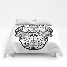 Vintage Mexican Skull with Bicycle - black and white Comforters
