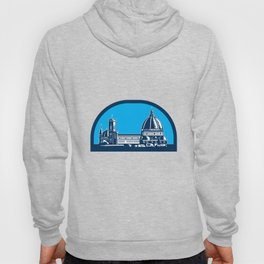Dome of Florence Cathedral Retro Woodcut Hoody