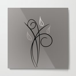 Floral Whimsy - Dark Taupe  Metal Print