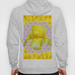 ABSTRACT YELLOW SPRING IRIS GOLDEN DAFFODILS FRAME Hoody