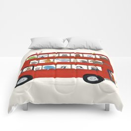 the big little red bus Comforters