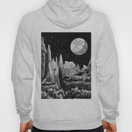 View of Earth from a very rocky moon - 1911 Space Landscape Fantasy Science Fiction Landscape Astro Hoody