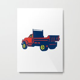 Flatbed Truck Woodcut Metal Print