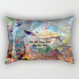 Not All Who Those Wander Are Lost Inspirational Quote With Beautiful Sea Turtle Painting Rectangular Pillow