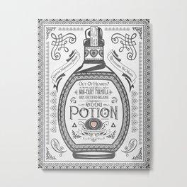 Legend of Zelda Red Potion Vintage Hyrule Line Work Letterpress Metal Print
