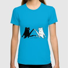 cat yoga MEDIUM Teal Womens Fitted Tee