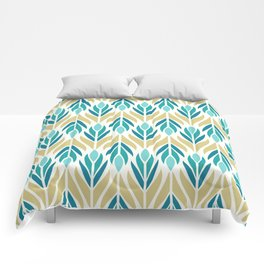 Mid Century Modern Abstract Floral Pattern in Turquoise Teal Aqua and Marigold Comforters