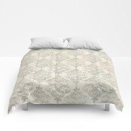 Beige Watercolor Damask Pattern Comforters