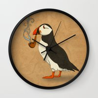puffin Wall Clocks featuring Puffin' by Megs stuff