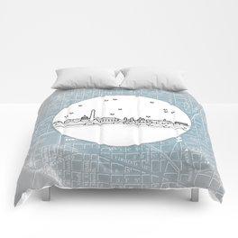 Washington D.C., City Skyline Illustration Drawing Comforters