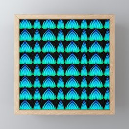 The alternating pattern of the color of the sky of hearts and stripes on a black background. Framed Mini Art Print