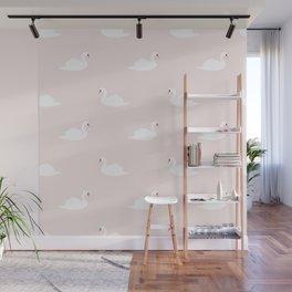 Swan pattern on pink 033 Wall Mural