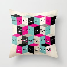 The Many Faces of Cute Throw Pillow
