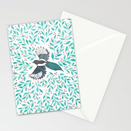 Magpie and Berry Branches Stationery Cards