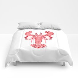 Tribal Maine Lobster on White Comforters