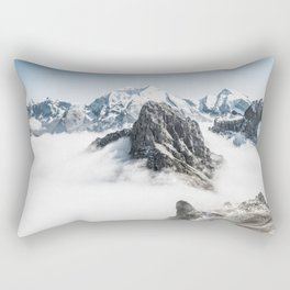 Mountain Tops Above Clouds And Snow Rectangular Pillow