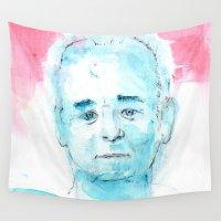 bill Wall Tapestries featuring Bill Murrayca  by Taylor Winder