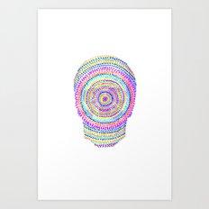 divisionism skull mandala Art Print