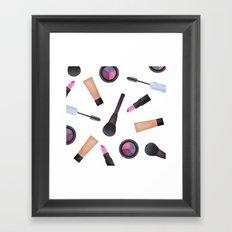Scattered Makeup Pattern Framed Art Print