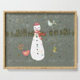 Cute Christmas Snowman & Birds Winter Scene Serving Tray