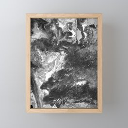 Grayscale Pour 744 Framed Mini Art Print