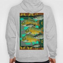 YELLOW MONARCH BUTTERFLIES & BROWN  FISH VIGNETTE Hoody