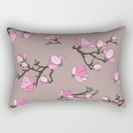 Magnolia on pastel pink background Rectangular Pillow