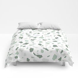 abstract terrazzo stone pattern sage green white Comforters
