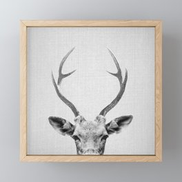 Deer - Black & White Framed Mini Art Print